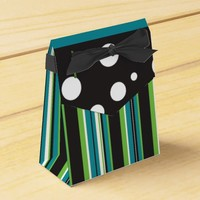 Aqua & Green Stripes and Dots Favor Boxes