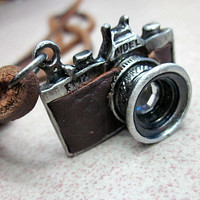 Brown real Leather and alloy pendant adjustable necklace mens necklace  unisex necklace cool necklace B78