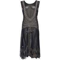 Sheer Silk Chiffon 1920s Dress Beaded with Crystals