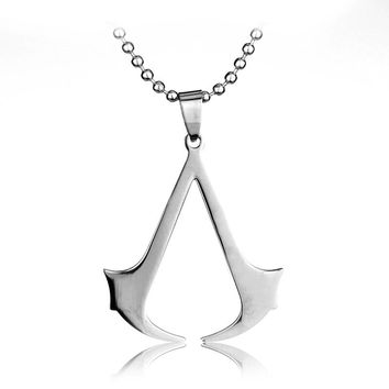 SG High Quality Stainless Steel Assassins Creed Necklaces & Pendants With Leather Rope Chain Game Men Necklace Kolye Collares