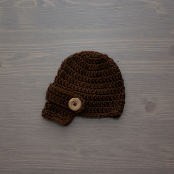 Crochet Brown Newsboy Cap, Newborn Photography Prop, Crochet Baby Hat, Crocheted Baby Hat, Baby Shower Gift, Newsboy Hat, Baby Boy, Girl
