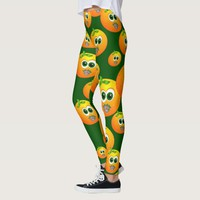 Cartoon doodle oranges fruity faces leggings