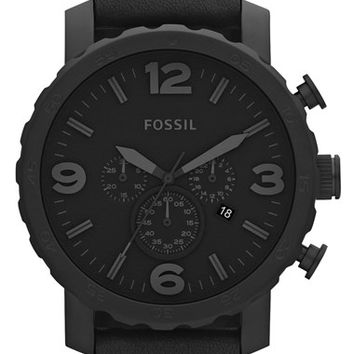 Men's Fossil 'Nate IP' Chronograph Watch, 50mm - Black