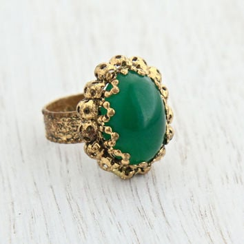 best rings germany ring stone faux w on vintage costume jewelry gold shop adjustable products green jade tone wanelo