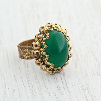 Vintage Green Stone Ring -  Adjustable Gold Tone W. Germany Costume Jewelry / Faux Jade Oval Cabochon