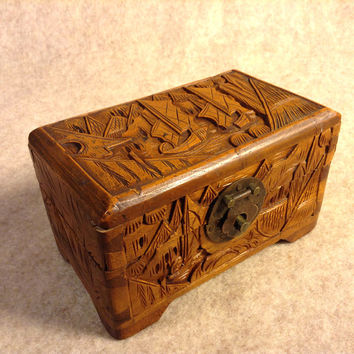 Deep Detailed Hand Carved Oriental Wood Box - Scene with Boats, Junks, Ships, Hinged - Dovetail - Brass Latch