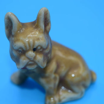 Miniature Brown Bull Dog Vintage Japan Miniature French Bulldog Figurine Mini Frenchie Dog Collectible Gift for Dog Lover Gift for Her