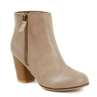 Taupe Match Me Zip Stacked Booties