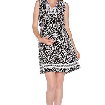 Due Maternity Lacey Pregnancy And Beyond Shift Dress - Black/White