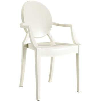 Philippe Starck Style Louis Ghost Arm Chair Off-white