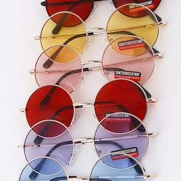 Thin Framed Round Sunglasses