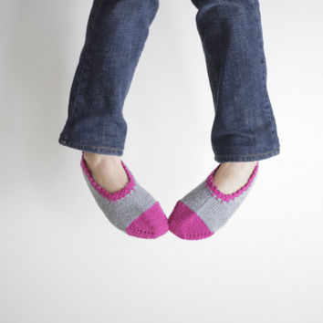 20% OFF for WANELO - Handmade Women Slippers, Turkish Knitted slippers, Authentic footwear, Stylish foot wear,  pink and grey