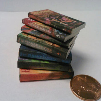 Miniature Books  Dollhouse  Harry Potter  7 books by AppleBeads85
