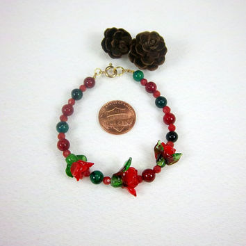 Saint Valentines Day Red Rose and Gemstone Bracelet Kawaii Cottage Chic Jewelry