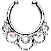 Aurora Gem Vintage Collar Non-Pierced Clip On Septum Ring | Body Candy Body Jewelry