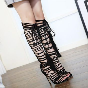 Lace Up Strap Knee High Gladiator Roman Open Toe Fringe Boots