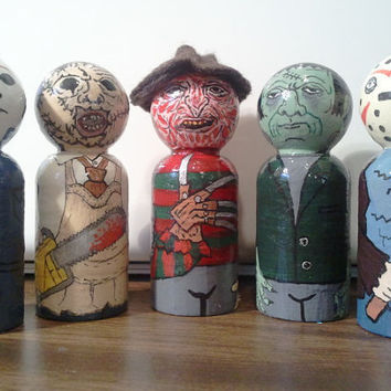 """Little Wooden Horror Villains, wooden peg people""""CHOICE OF ONE"""""""
