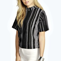 Tanya Mixed Stripe Crepe Boxy Shell Top
