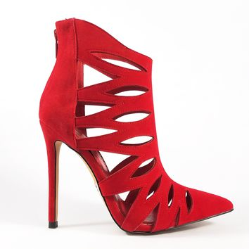 Alba Jamie Red Cut Out Pointy Toe Ankle Boot Booties 6-11