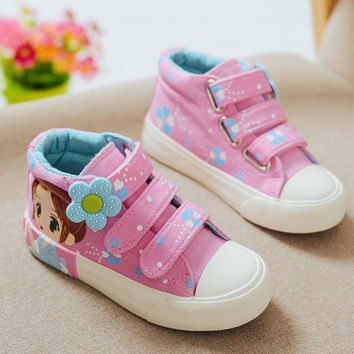 2017 New Spring Kids Canvas Sneakers Brand Children Casual Shoes Denim Girls Princess Shoes Student Flat Boots