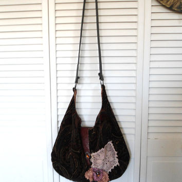 Large Paisley Hobo Hippie Purse crossover shoulder leather tea stained lace boho gypsy bohemian cowgirl bag teal red brown rhinestones lined