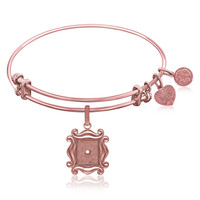 Expandable Bangle in Pink Tone Brass with Picture Frame Over The Peephole Symbol