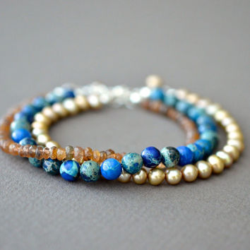 Stacking Bracelet Set, Teal Blue Brown Beaded Bracelets, Gemstones Freshwater Pearls, 7 Inch Adjustable