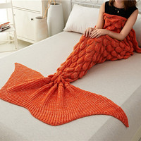 Mermaid Tail Blanket Super Soft Sleeping Bed Crochet Mermaid Blanket Knitted -5Colors