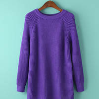 Loose Round Neck Knit Midi Length Sweater