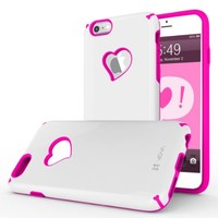 """iPhone 6S Case, Vena [vLove] Heart-Shape Rear Window Dual Layer Hybrid Bumper Cover for Apple iPhone 6 2014 / 6S 2015 (4.7""""-inch)- White / Pink"""