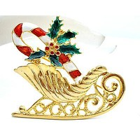 Christmas Sleigh Enamel Pin Vintage Holiday Brooch