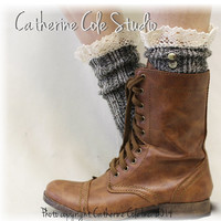 NORDIC LACE in Olive Tweed lace boot socks slouch socks combat boot socks womens boot socks cowboy boot socks Catherine Cole Studio SLX1B