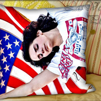 Lana Del Rey Usa Flag - Pillow Cover and Pillow Case.