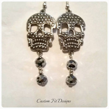 Silver Filled Sugar Skull Dangle Earrings With Silver Crystal Accents Birthday Present Gift Anniversary Gifts for Her Punk Rock Rockabilly