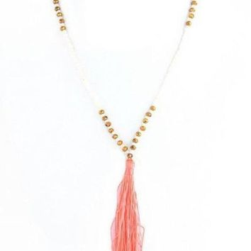 Just Peachy Luxe Tassel Necklace