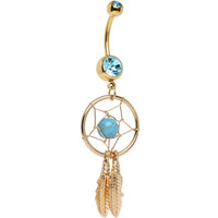 Gold Plated Aqua Gem Dreamcatcher Belly Ring | Body Candy Body Jewelry
