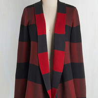 Rustic Long Sleeve Simply Snuggly Cardigan in Red