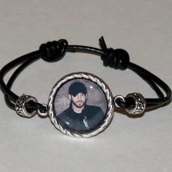 Brantley Gilbert Adjustable Leather- Pendant Photo Bracelet-Made to Order