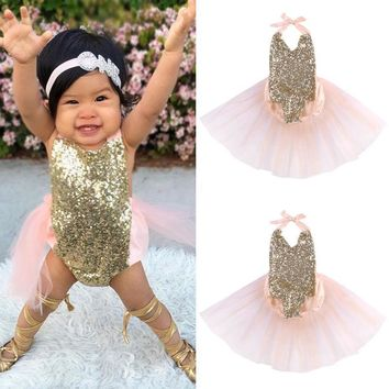 Pink, Sequins, & Gold Ballerina Dress