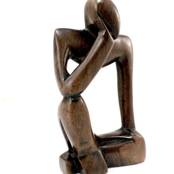 the thinker ebony statue handmade hand carved in Ghana African artifacts fair trade sculptures gift for grandmother gift for mom corporate