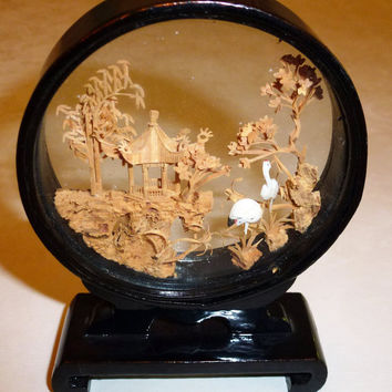 Framed Asian Cork Sculpture, Mandarin, Chinese, shadow box