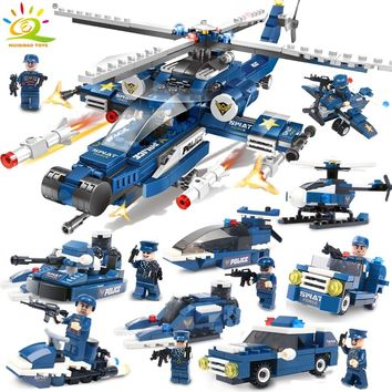 515pcs Swat Army Police Helicopter car Building Blocks Compatible Legoing city figures Weapon gun Educational Toys for Children