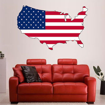 kcik1280 Full Color Wall decal Card USA Flag living room bedroom office