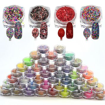 SWEET TREND 48 Bottles Laser Glitter Mixed Color Cheese Fancy DIY Nail Decoration Pigment Powder Dust Charming Tips LASN01-48