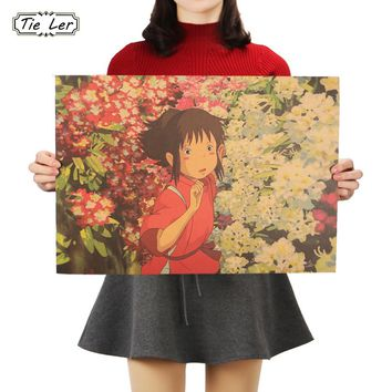 TIE LER Famous Anime Movie Spirited Away Kraft Paper Poster Bar Cafe Decorative Painting Room Wall Stickers