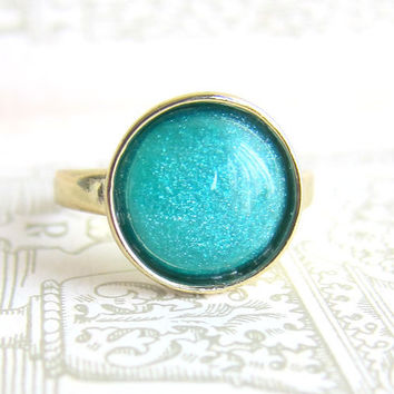 Teal Ring Gold Plated Aqua Blue Sea Green Modern Jewelry The Great Gatsby Dark Green Faux Gem Stone Ring Gift Fall Trends