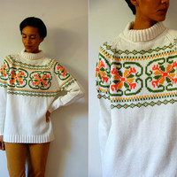 Vtg Retro Winter Print White Knitted Turtleneck Sweater