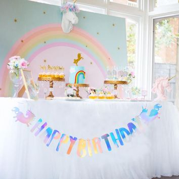 Iridescent Foil Unicorn Party Happy Birthday Banner Bunting Garland String Baby Kids Rainbow 1st Birthday Supplies
