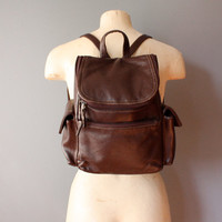 vintage mini backpack / small brown leather backpack
