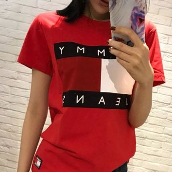 ESBIH3 Tommy Jeans Stylish Ladies Men Logo Print Round Collar T-Shirt Pullover Top Red I